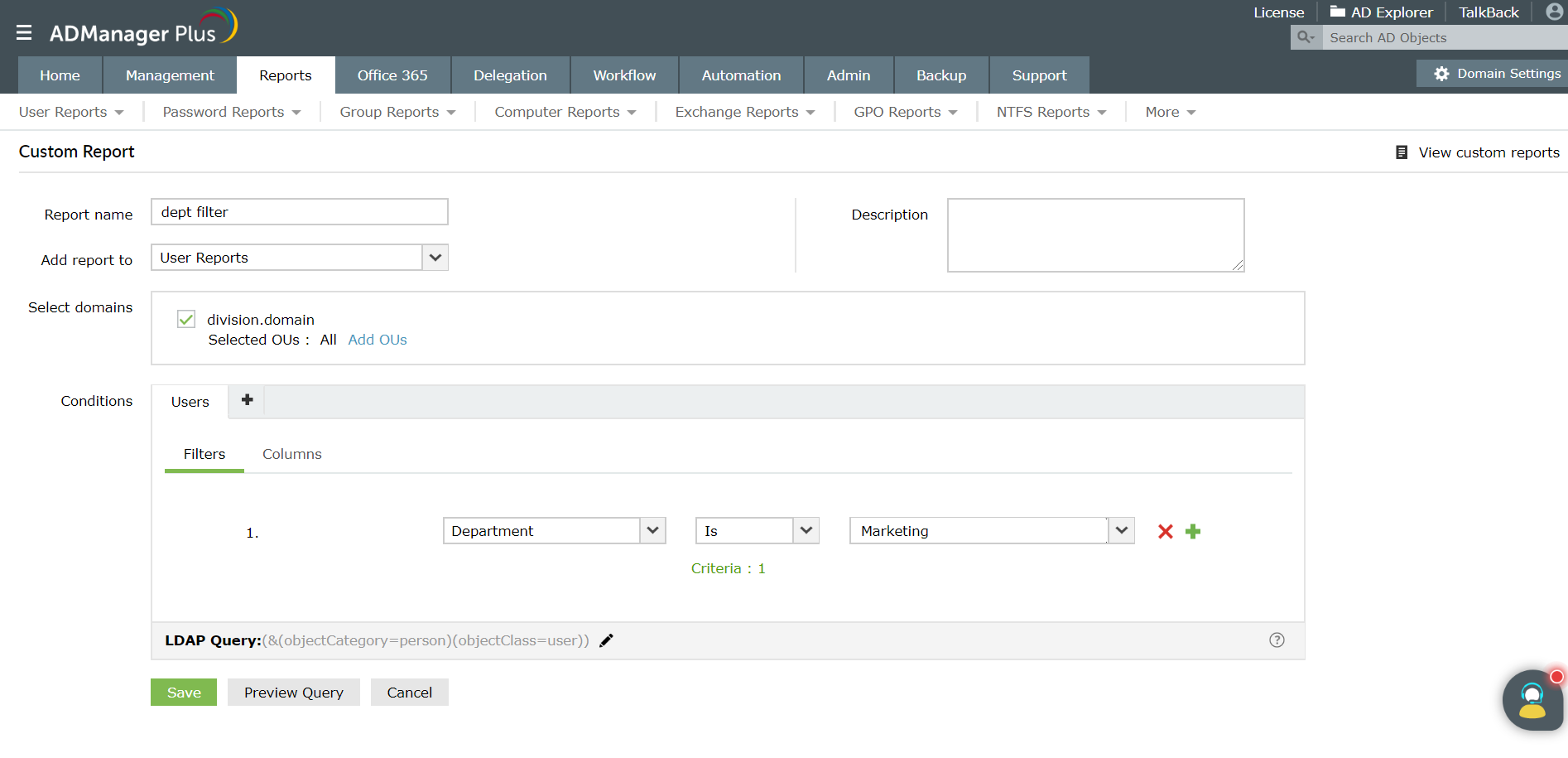 Screenshot of custom reports in ADManager Plus filtering AD users by departments