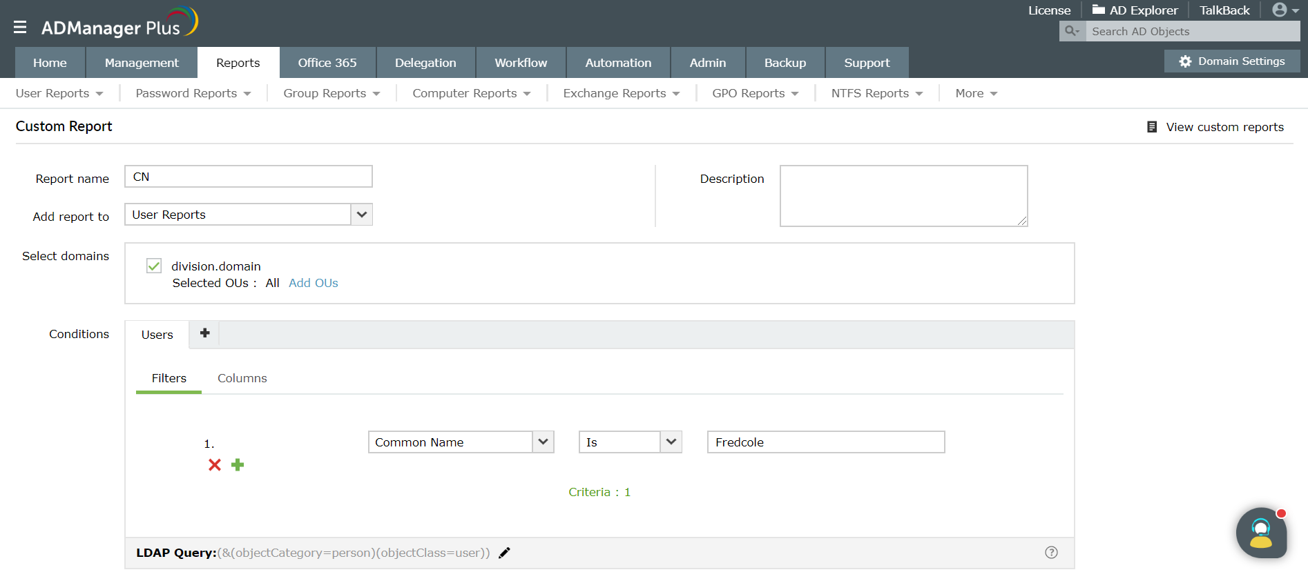 Screenshot of ADManager Plus' custom reports