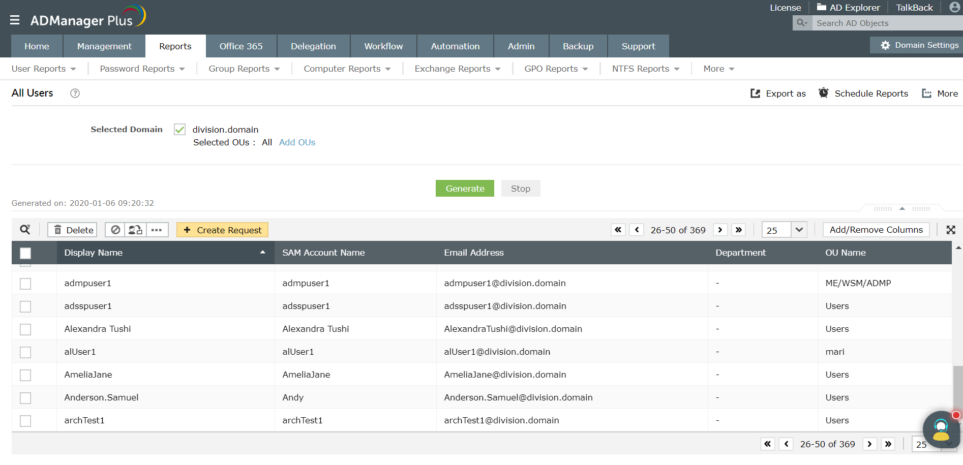 Screenshot of ADManager Plus all users report