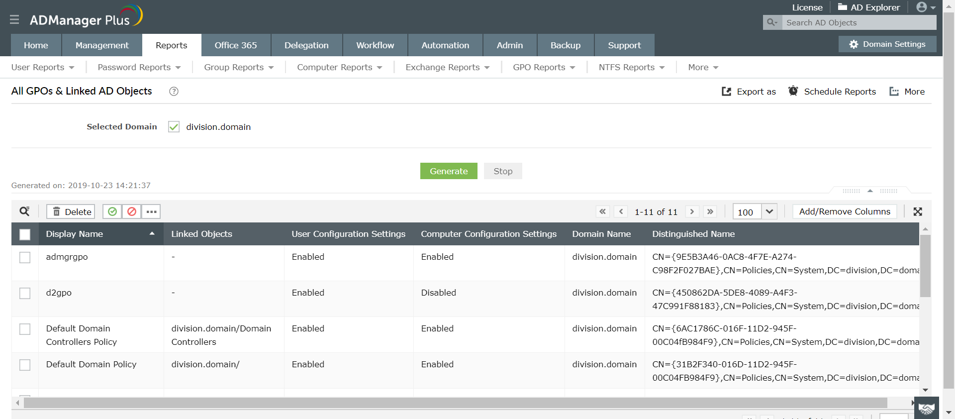 All GPO's Report in ADManager Plus