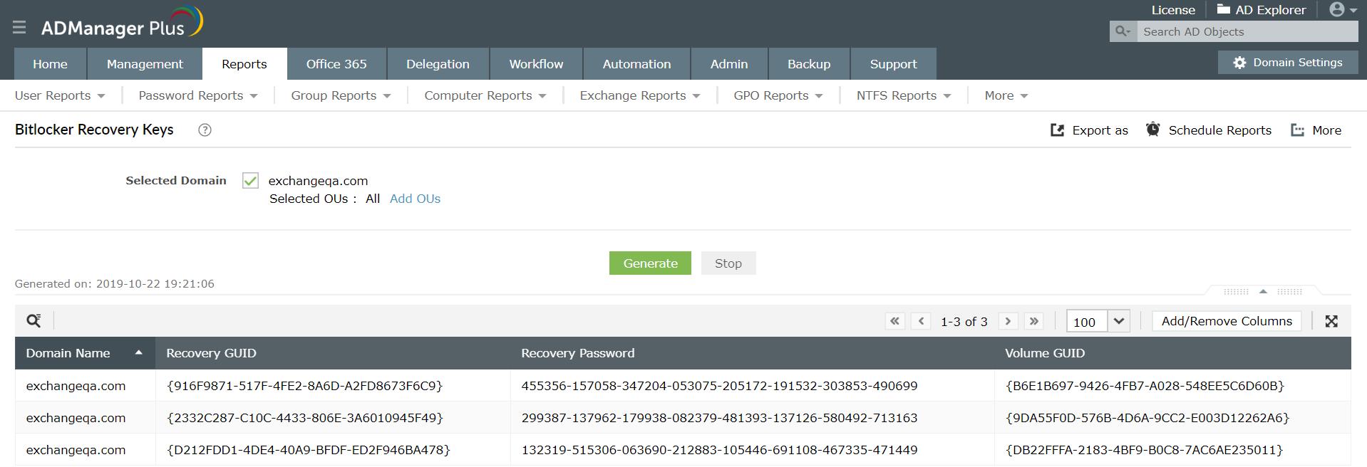 BitLocker recovery key reports