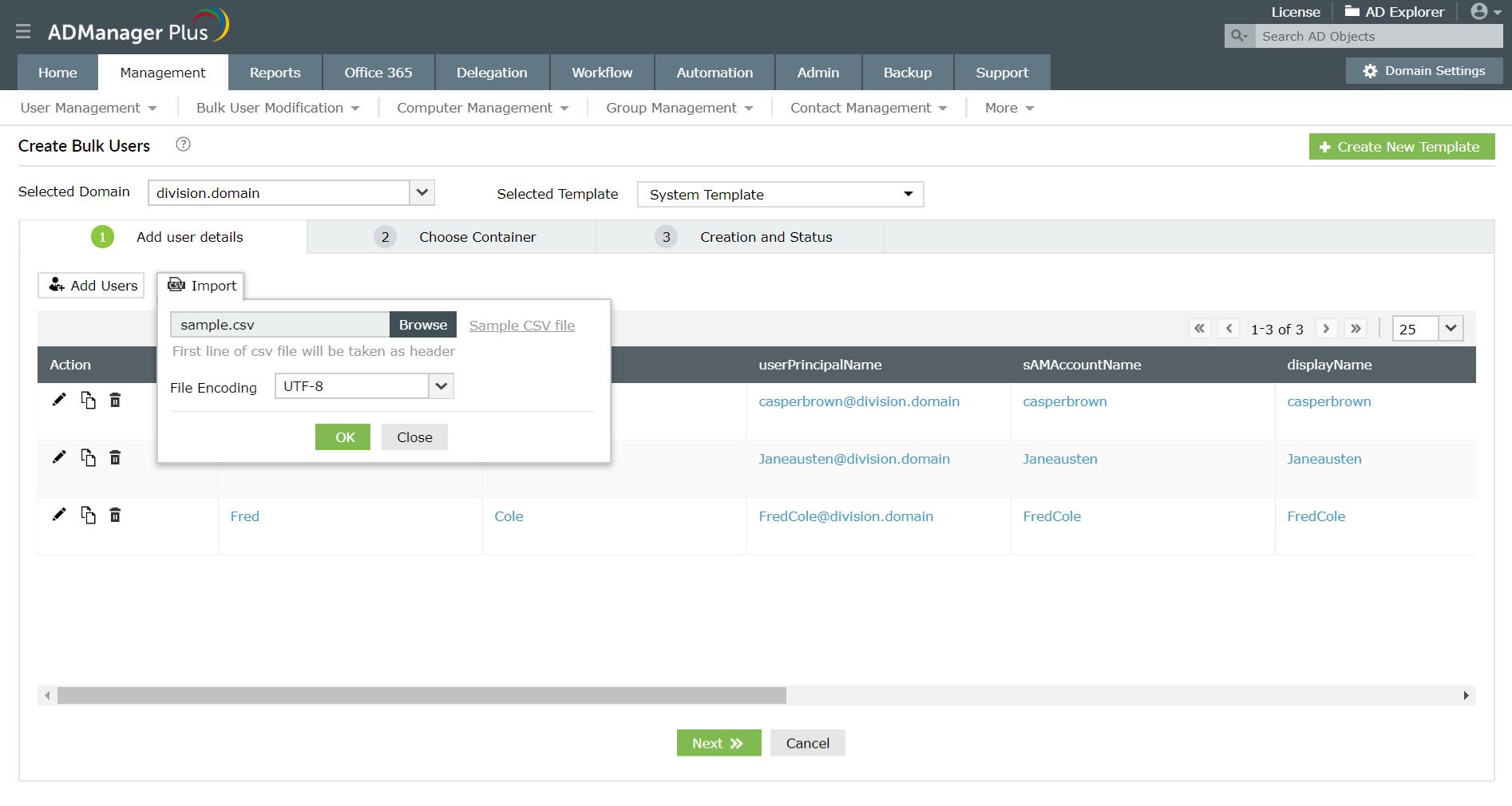 Bulk user creation through CSV import