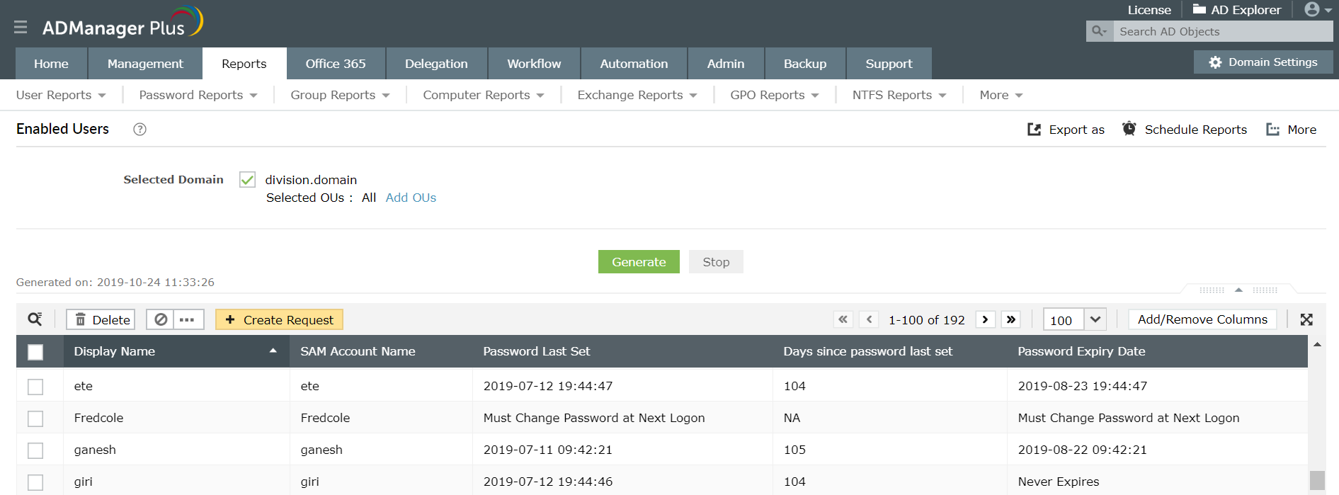 A screenshot of ADManager Plus with a report of all enabled users in Active Directory