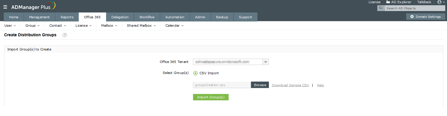 Create Office 365 Distribution Groups using ADManager plus