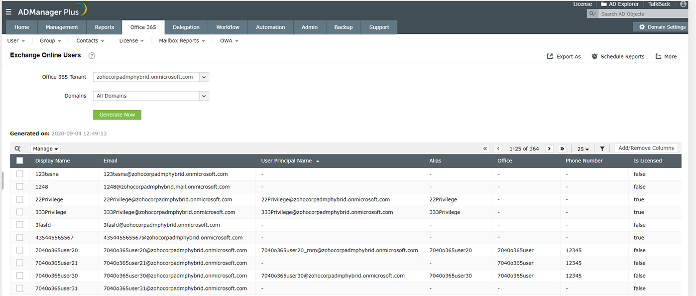Exchange Online Users report