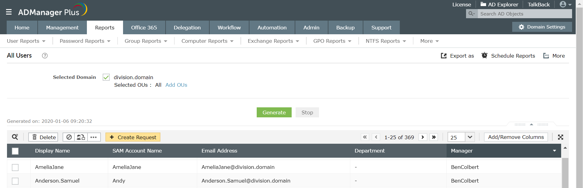 Screenshot of ADManager Plus listing all the users along with their managers display names