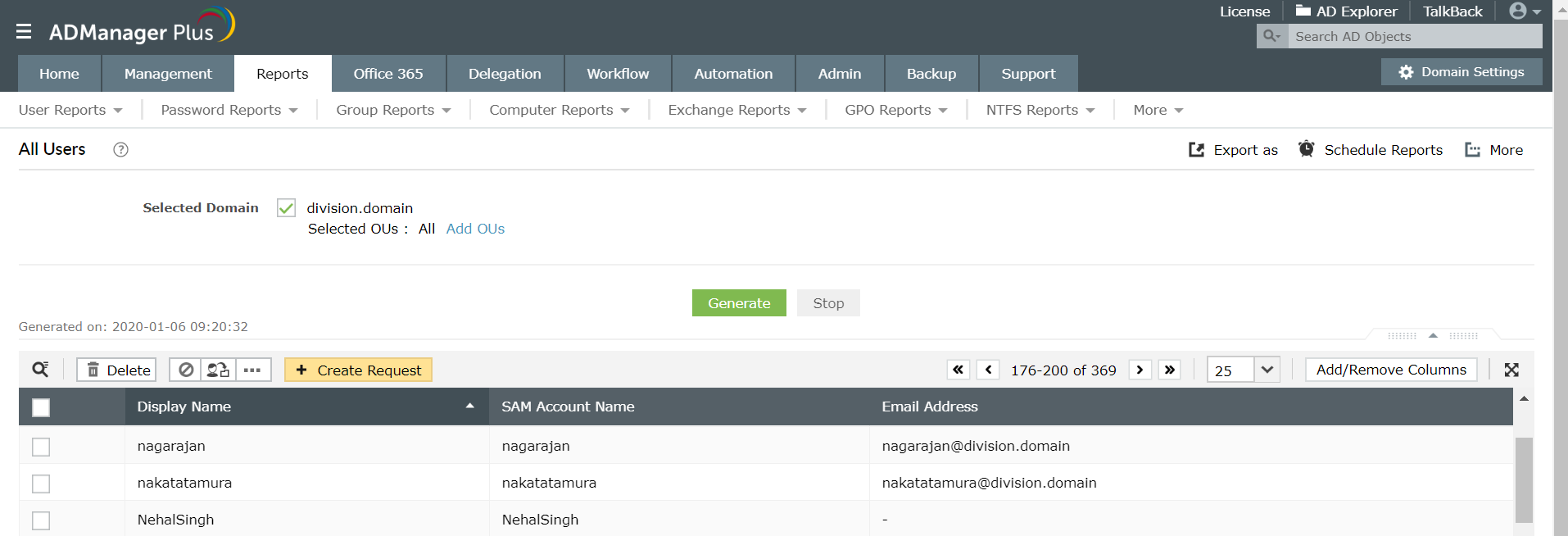 Screenshot of ADManager Plus listing all the users along with their sAMAccount names.