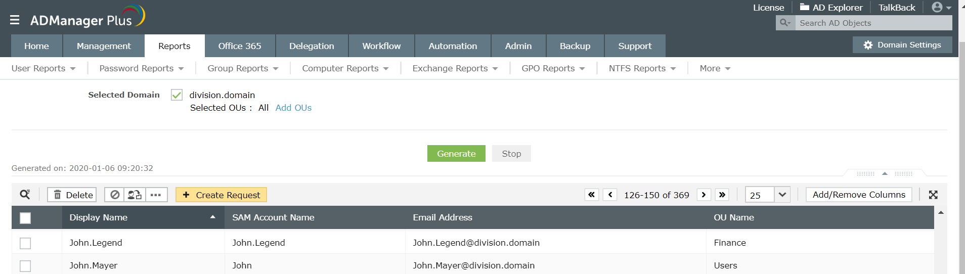 Screenshot of ADManager Plus listing all users from selected OUs