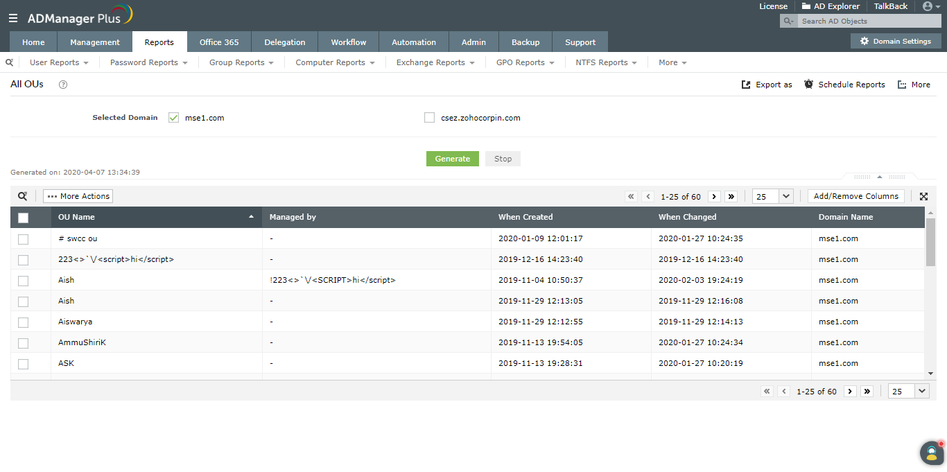 Get a list of OUs using ADManager Plus