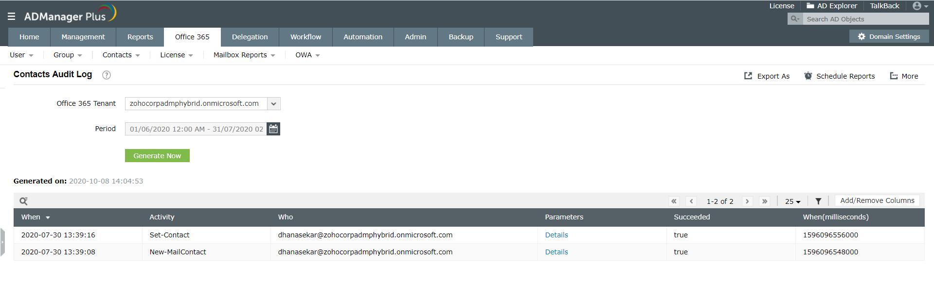 Contact Audit log