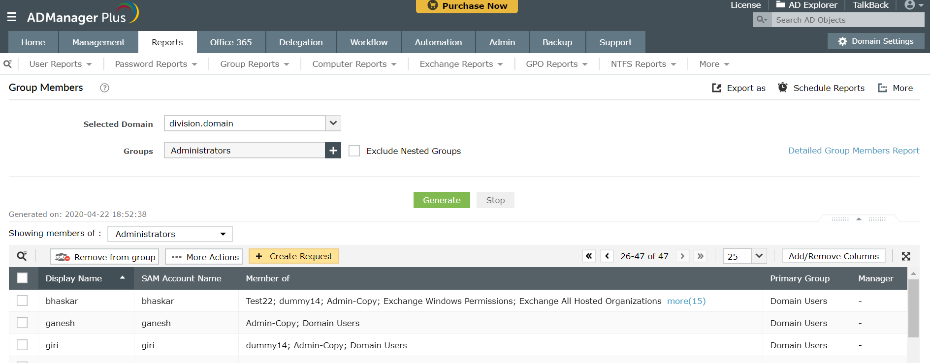 Export a report containing members of a specific Active Directory group using ADManager Plus