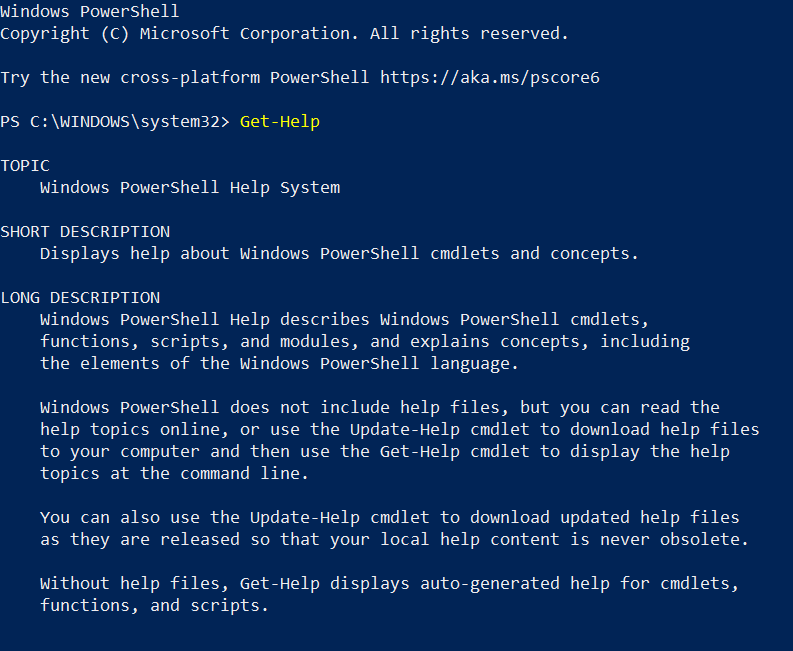 Get-Help cmdlets in PowerShell