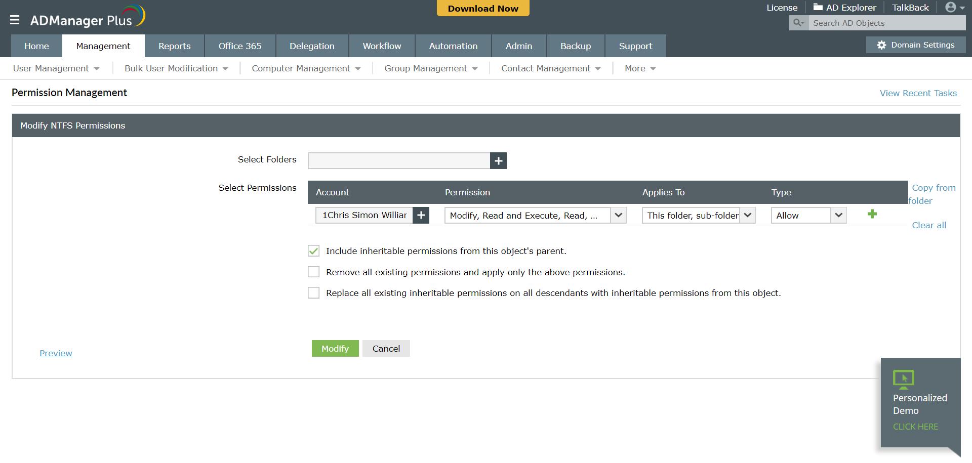 Set and modify folder permissions using ADManager Plus
