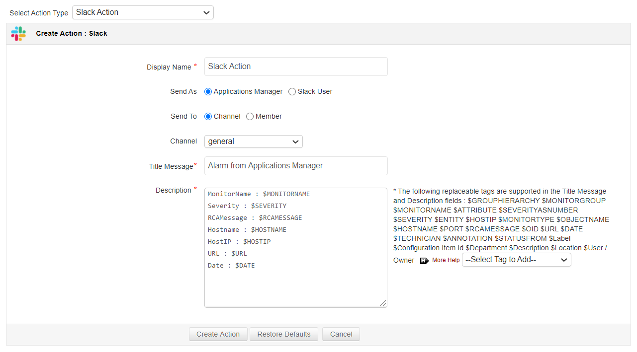 Slack Message Action in Applications Manager