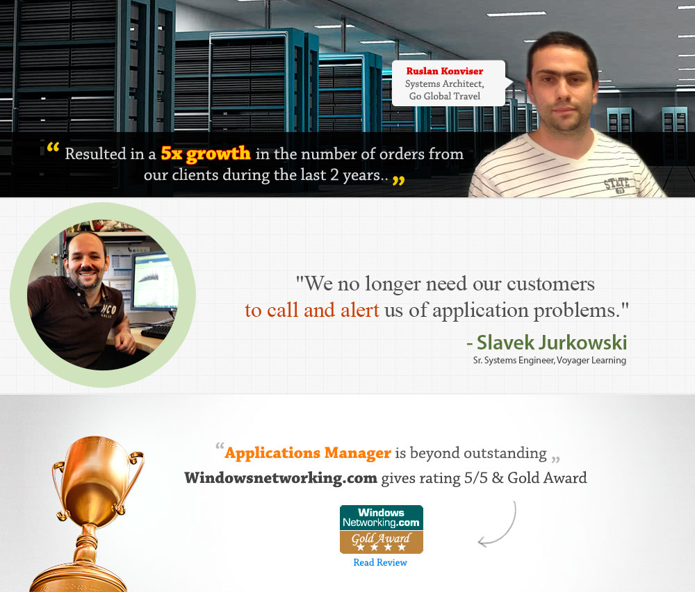 Applications Manager wins WindowsNetworking.com Gold Award and 5/5 rating