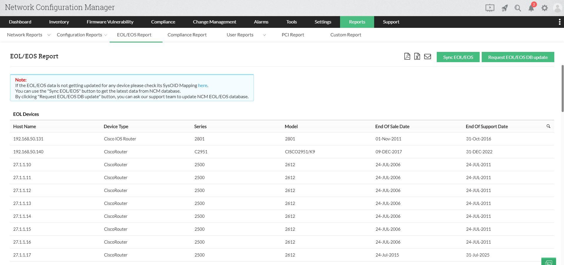Configuration reports