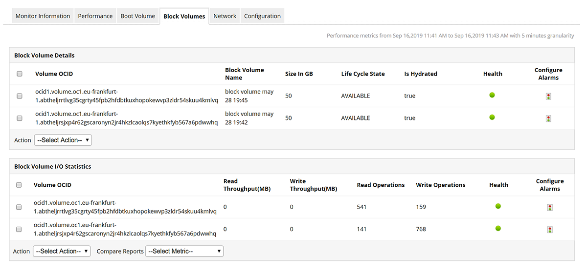 Block volume statistics for various blocks assigned depicted by ManageEngine's Oracle Cloud Infrastructure Monitoring Tool