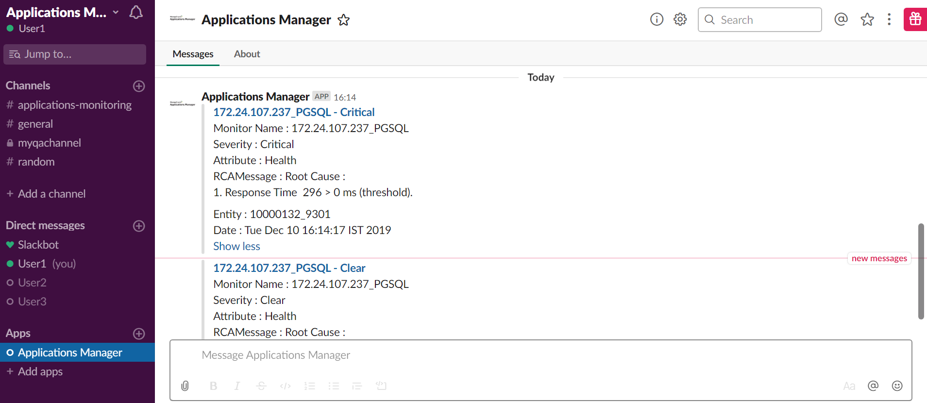 Integrate Slack with Applications Manager