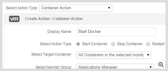 ManageEngine Applications Manager Docker Container action