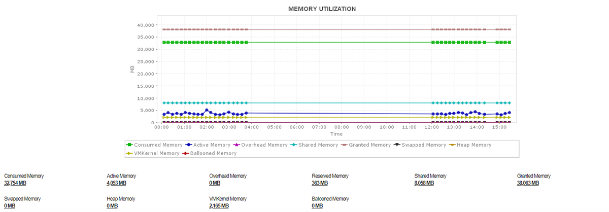 Graph representing a particular server's memory utilization over time