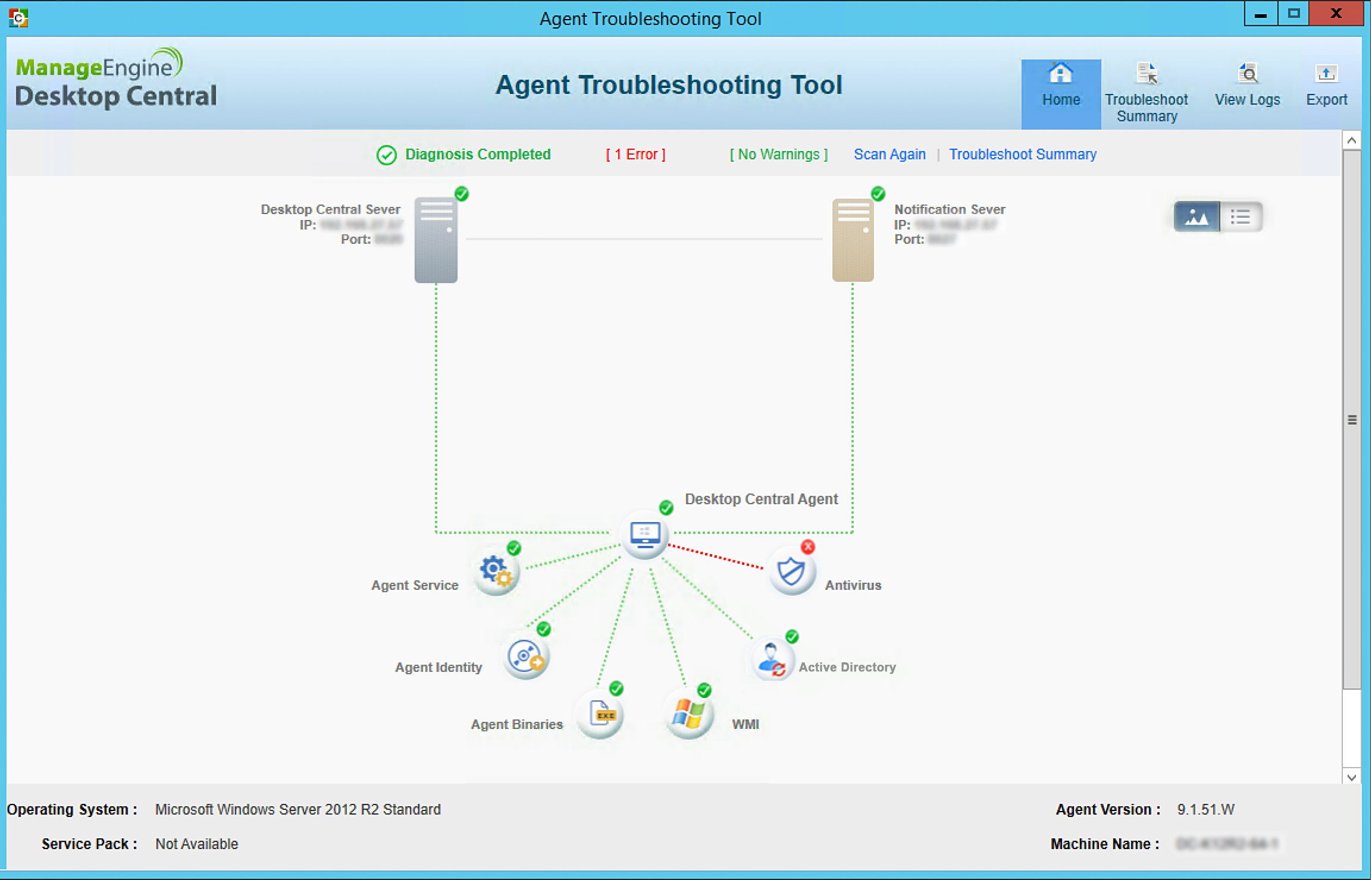 Agent Troubleshooting Tool | ManageEngine Desktop Central