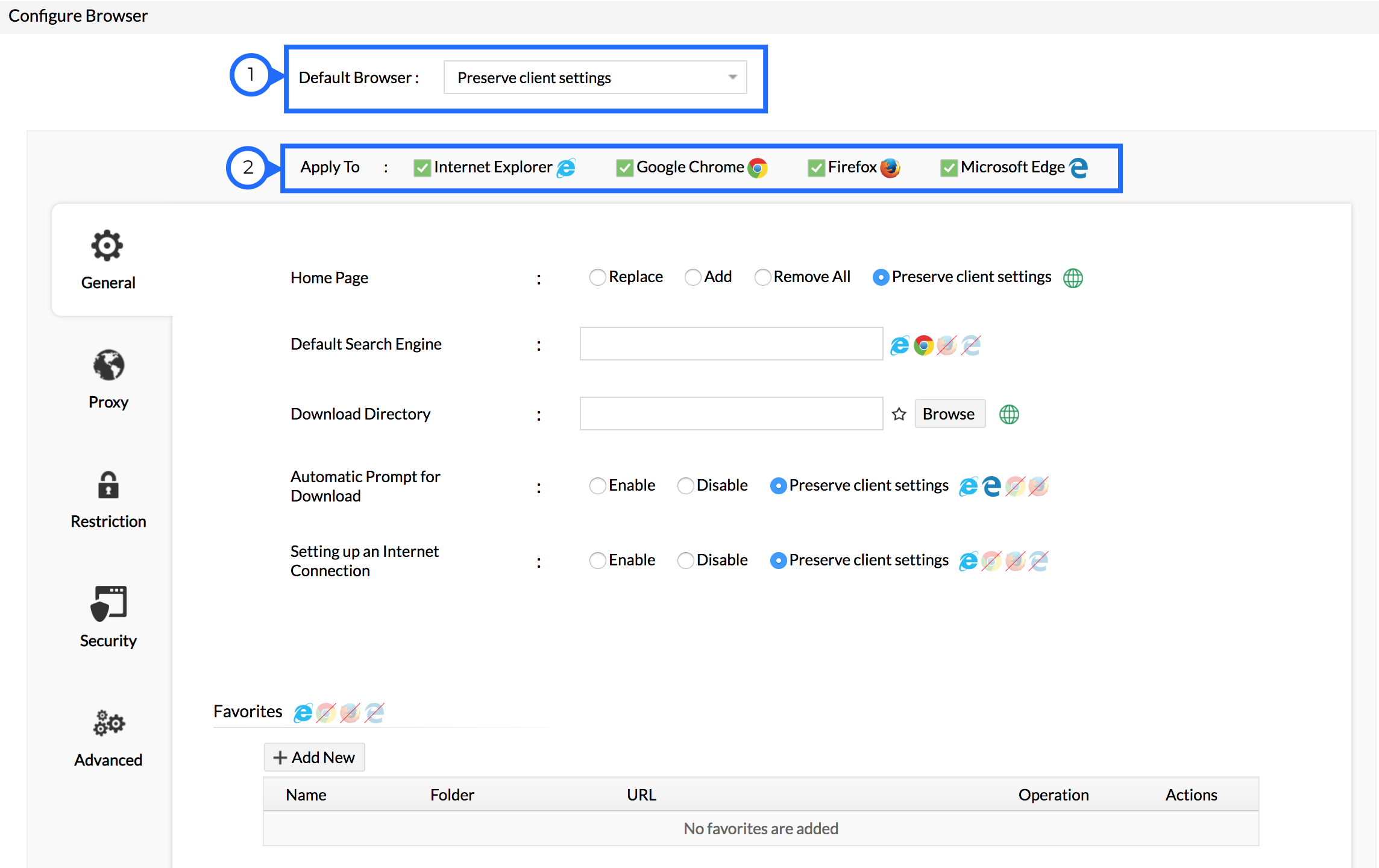 Configure Browser Settings | User Configuration