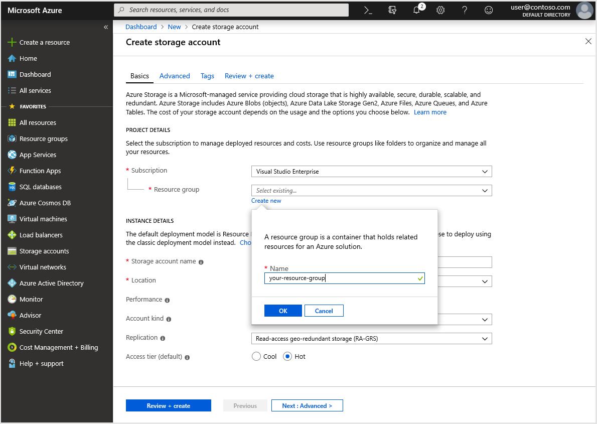 Desktop Central: Creating Azure Storage Account