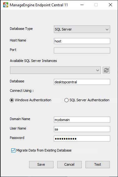 Database Setup Wizard