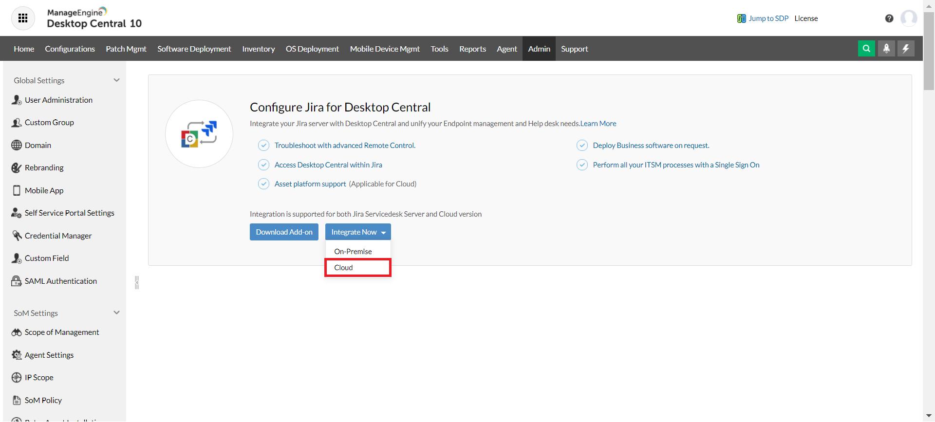 Choose Jira Service Management Cloud in Desktop Central