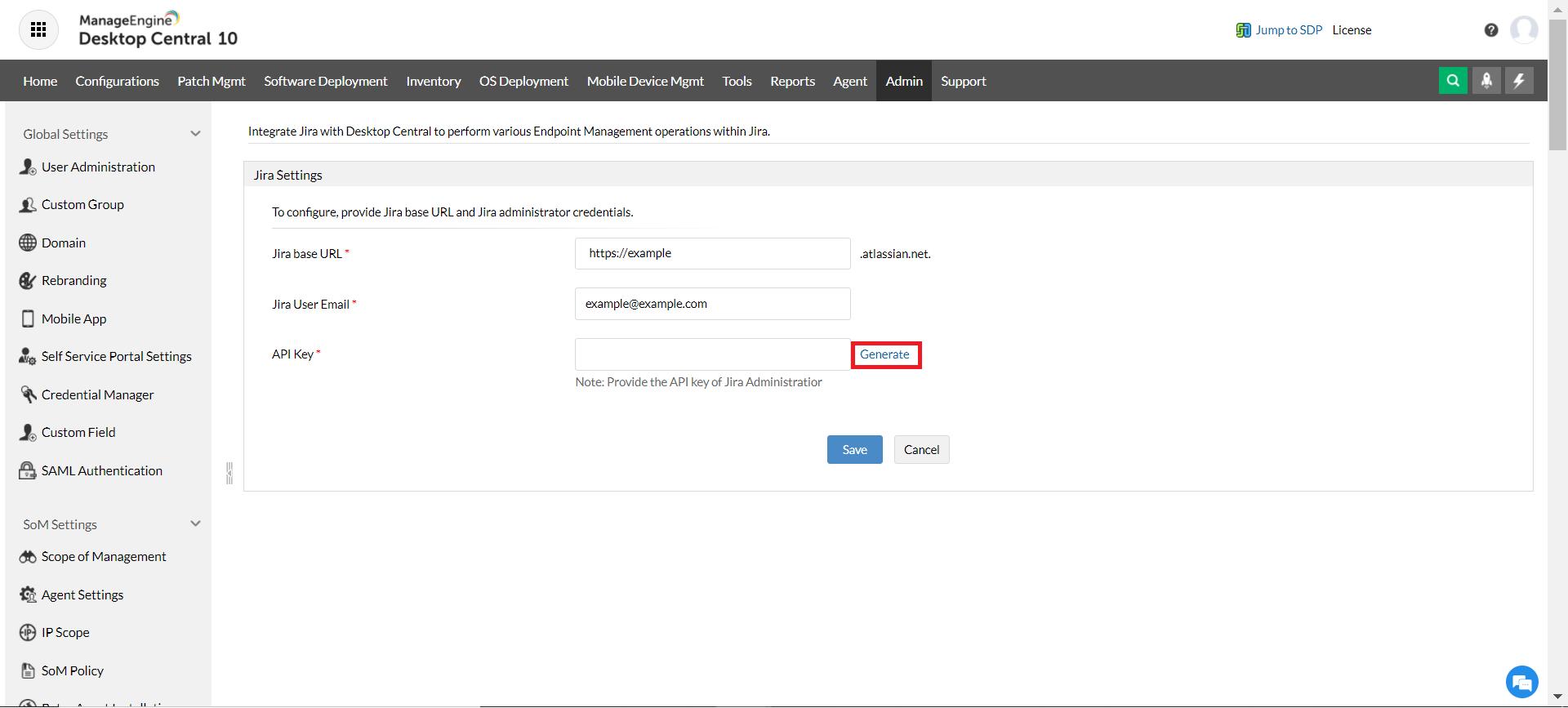 Generate API Key for Desktop Central- Jira Service Management Cloud integration