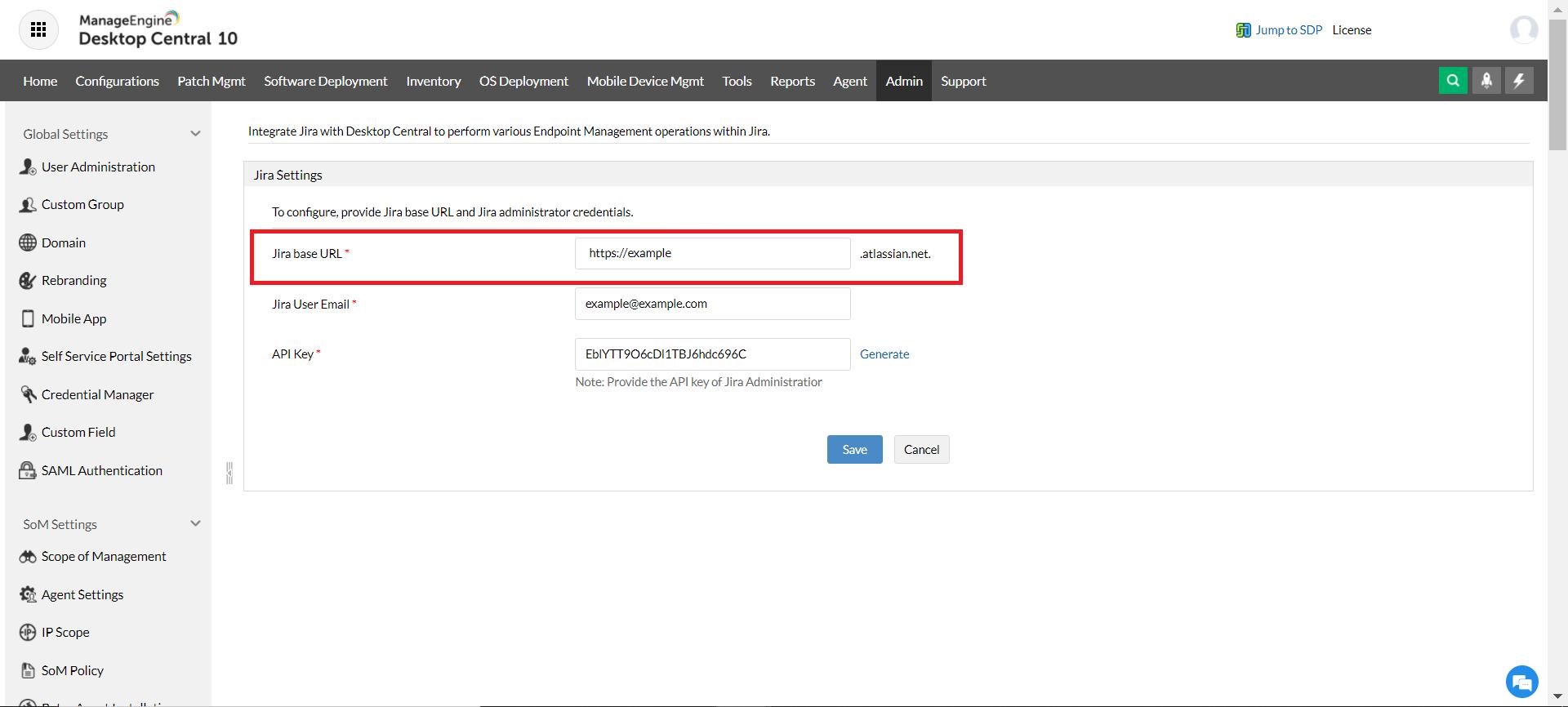 Enter Jira Management Cloud domain name in Desktop Central