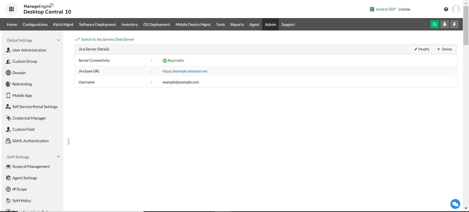 Desktop Central and Jira Service Management Cloud integration complete