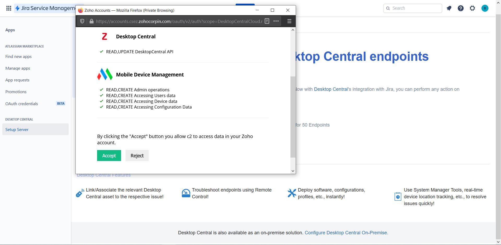 Desktop Central Cloud - Jira Service Management Cloud Integration