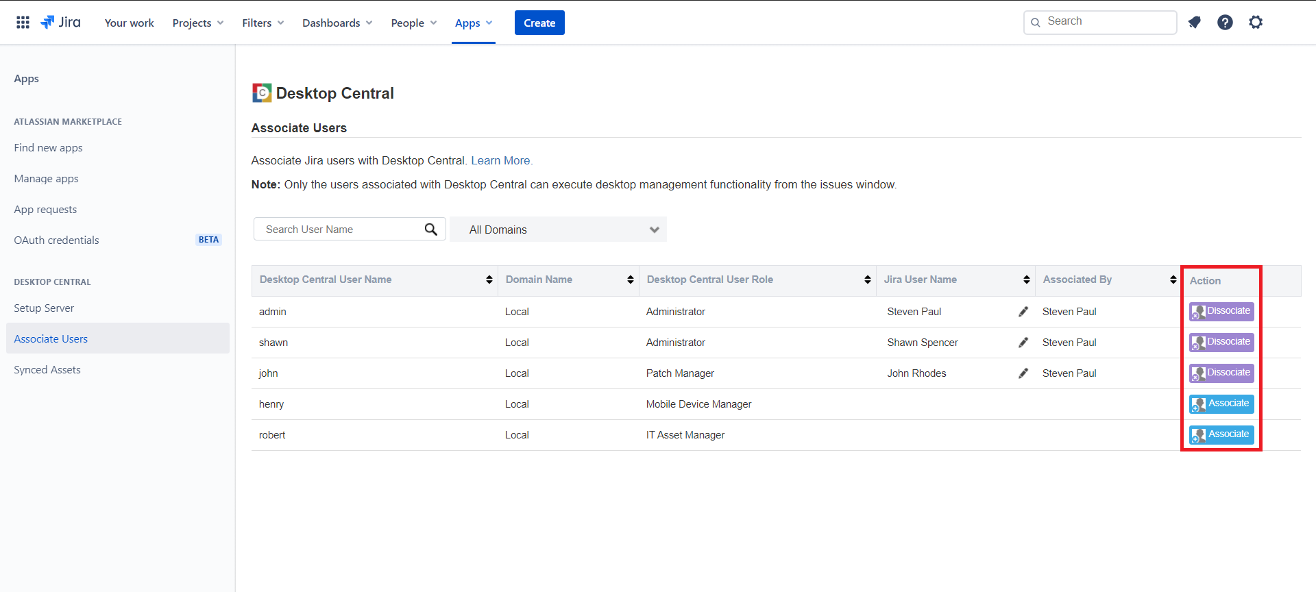 Associate Desktop Central users in Jira Service Management Cloud