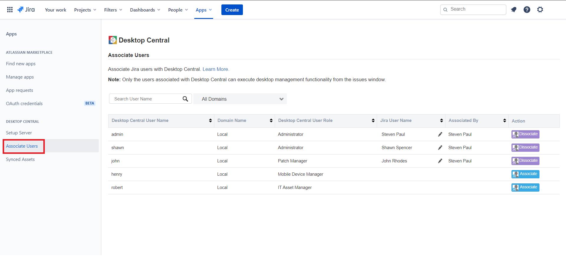 Click Associate Users in Jira Service Management Cloud