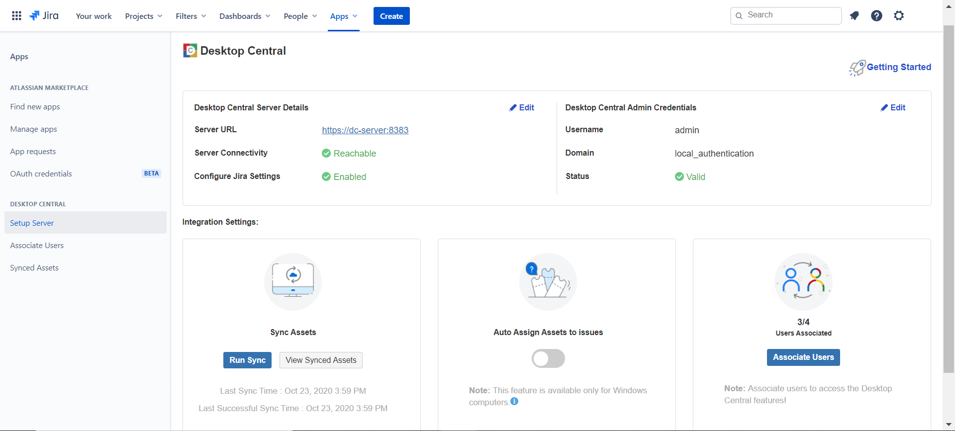 Jira Service Management Cloud- Desktop Central integration summary