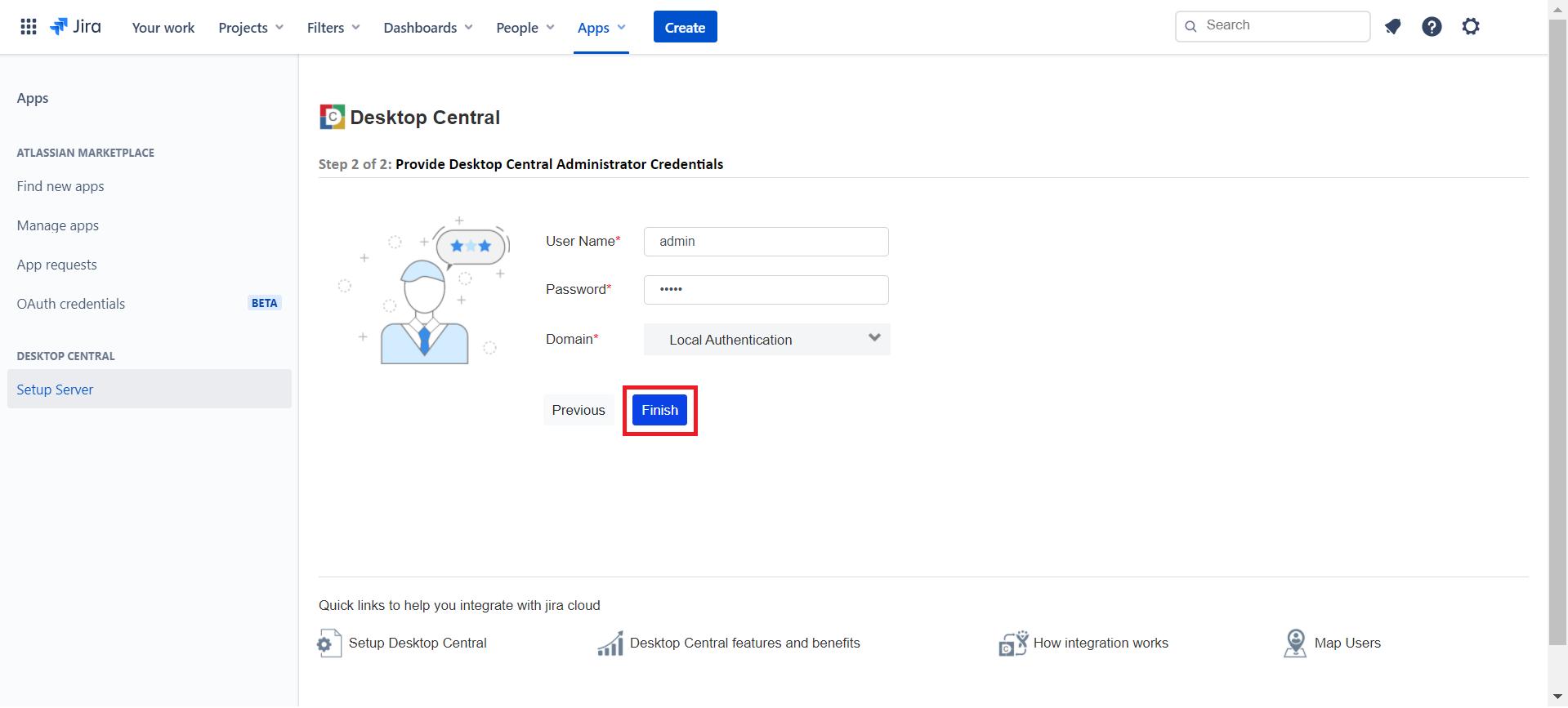 Enter Desktop Central user credentials in Jira Service Management Cloud