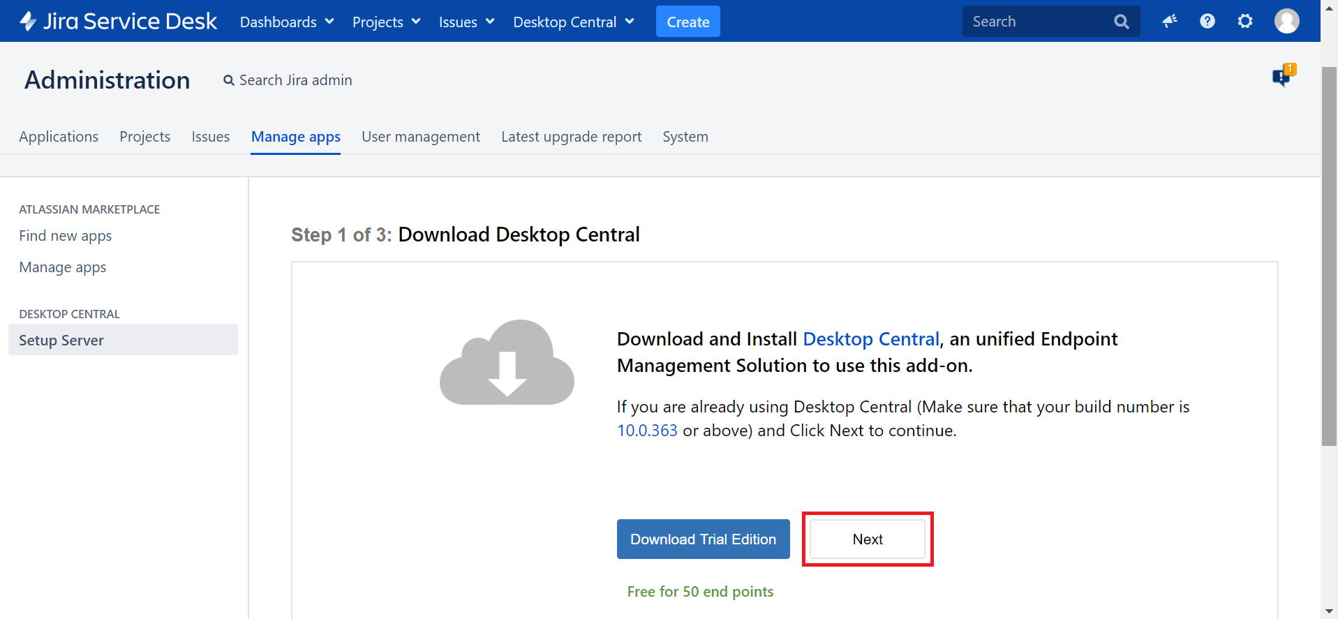 Desktop Central Jira Integration
