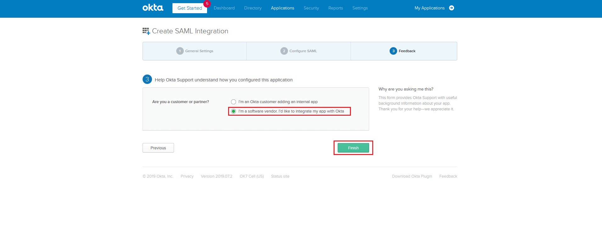 SAML Authentication settings for Okta