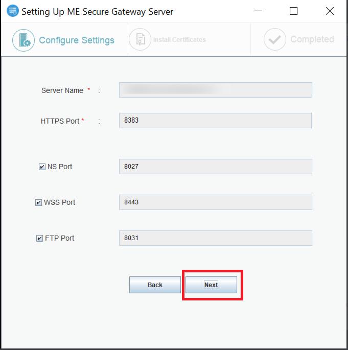 Secure Gateway Server Port Details