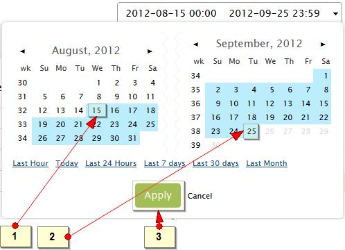 Select range of days in calendar