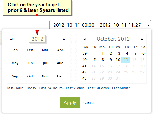 Click on the year to get the prior 6 and later 5 years  listed