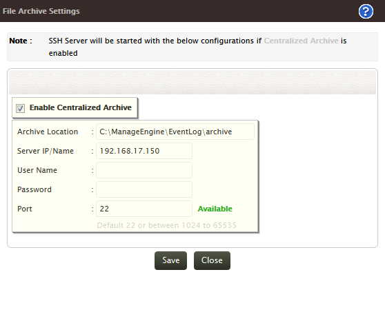 Centralized Archive Settings