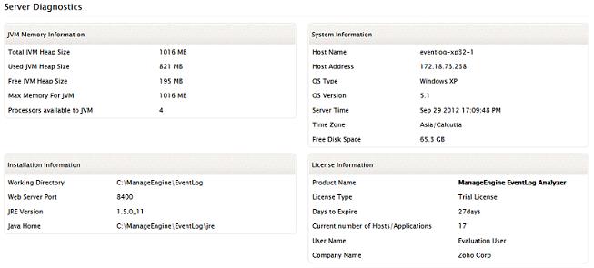 EventLog Analyzer server diagnostics
