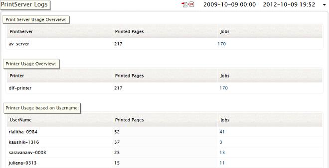 Print Server Application Log Report