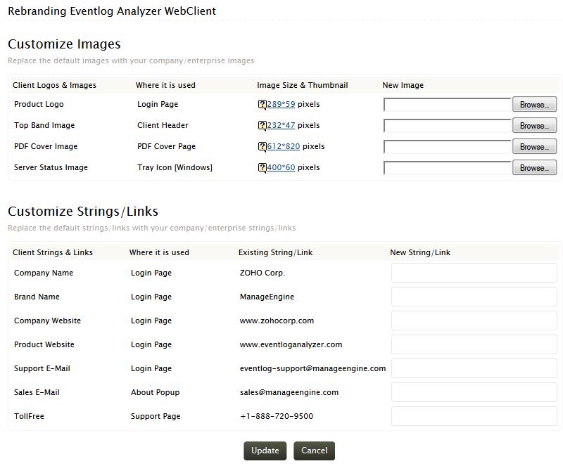 Rebrand EventLog Analyzer client