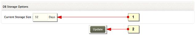 Database storage settings