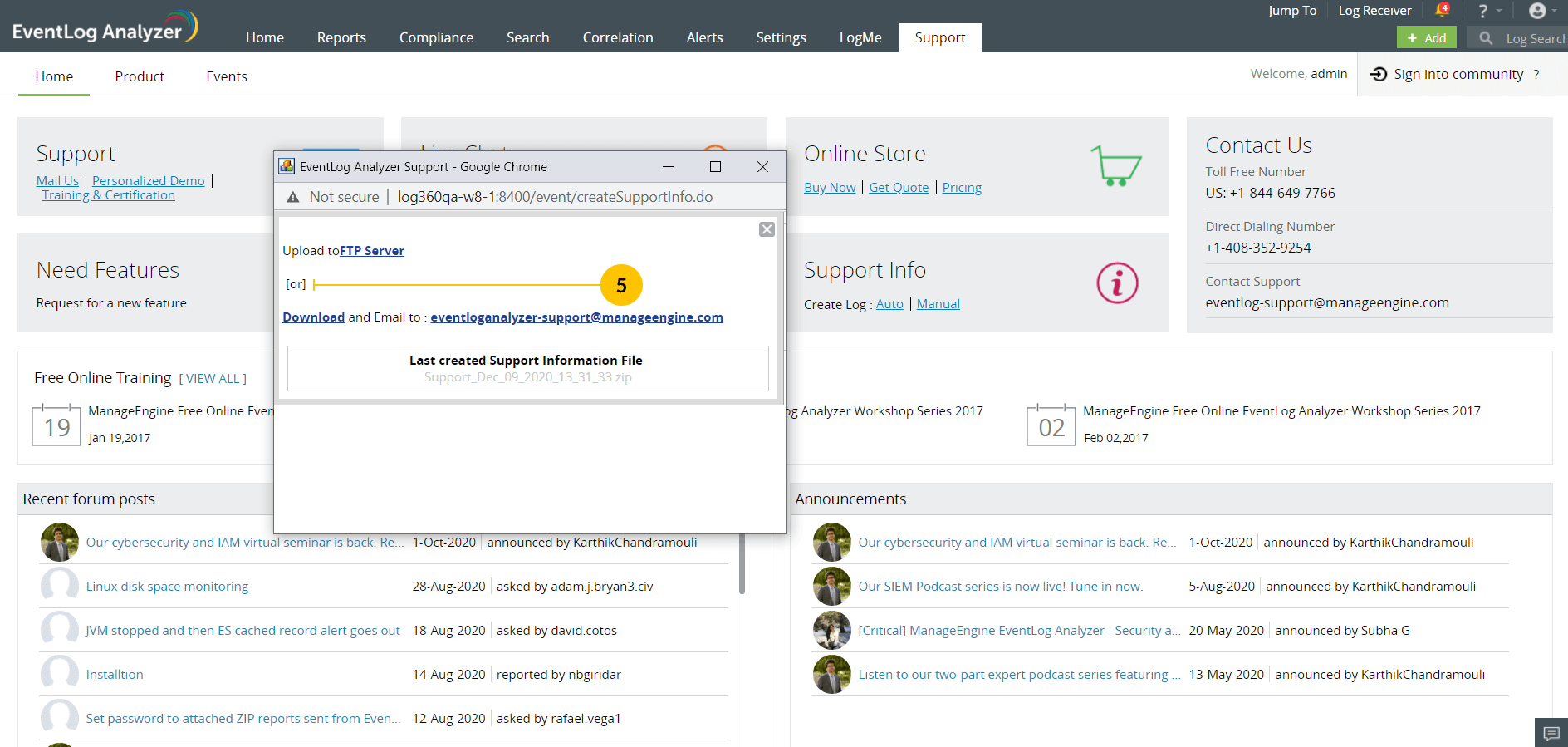 Create an EventLog Analyzer Support Information File (SIF)