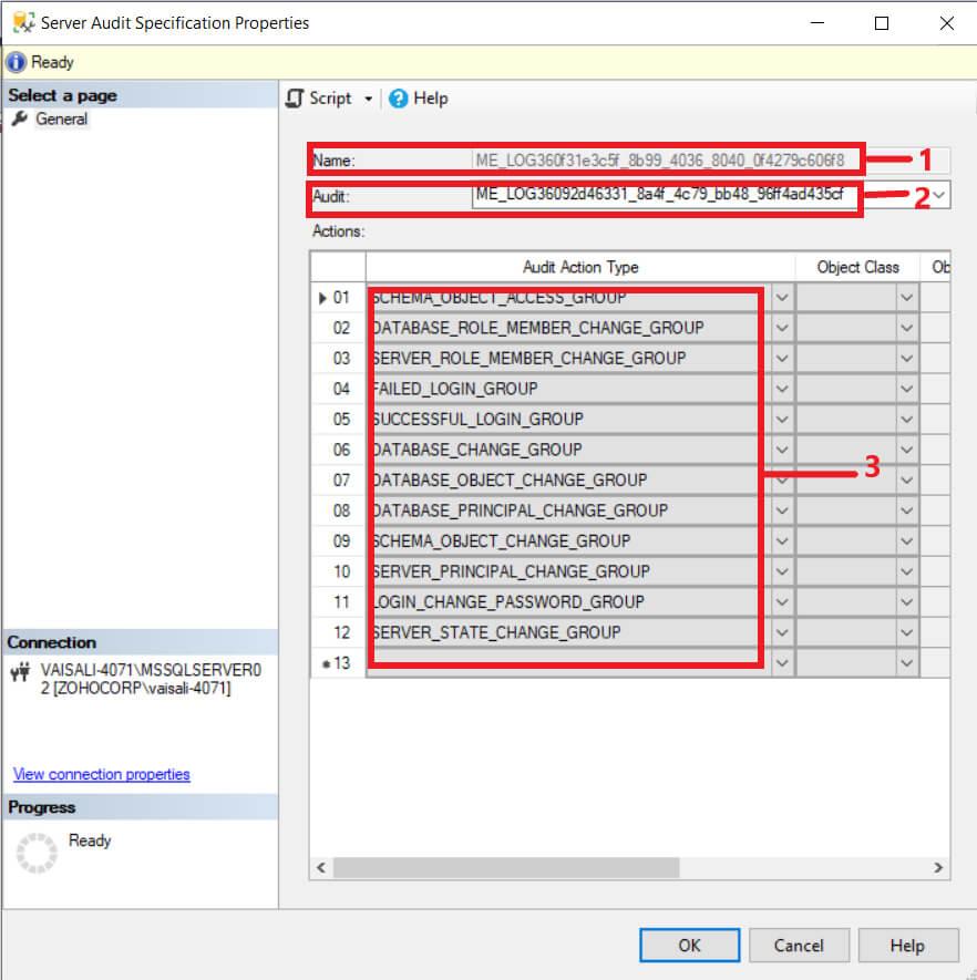 Server Audit specification