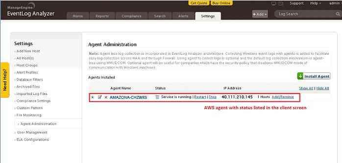 ELA AWS Agent se muestra en la página de configuración